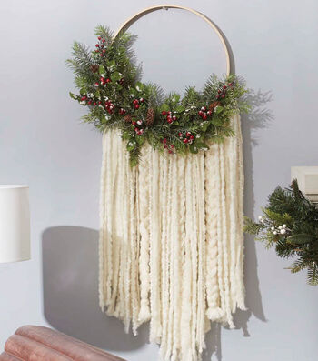 How To Make A Evergreen and Yarn Wall Hanging