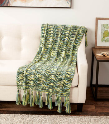 How To Make a Caron Jumbo Calico Collection Lace Chevron Knit Blanket