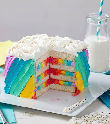 How To Make A Rosettes and Rainbows Birthday Cake
