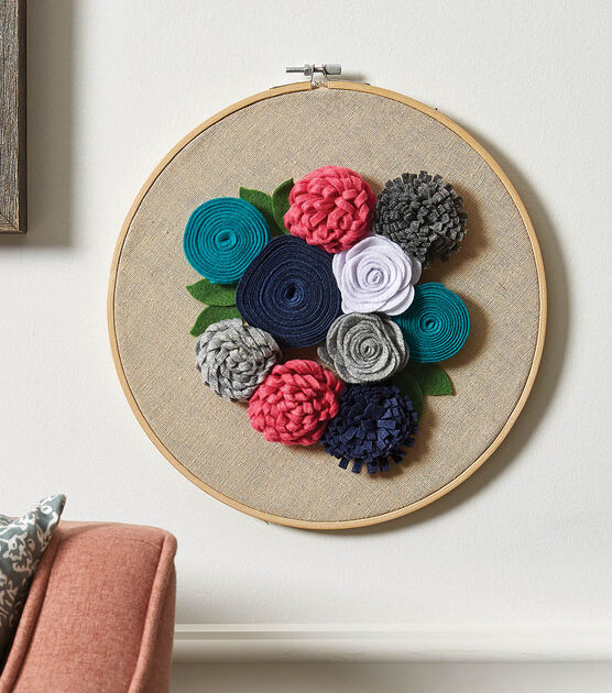 Hoop Art: Felt Flower Grouping on Emboidery Hoop Wall Hanging Multicolor and Colorful Florals on Dramatic Black Backdrop Housewarming