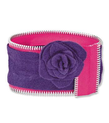 Zipper & Felt Bangle Bracelet