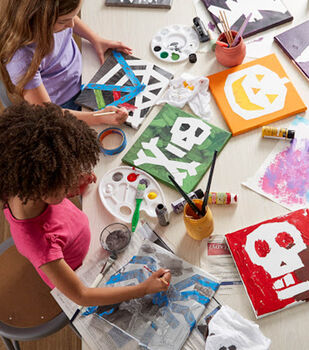 How To Make Kids Halloween Tape Canvases