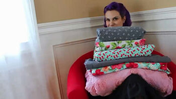 Gretchen Hirsch shares her love for vintage fabrics at her home office