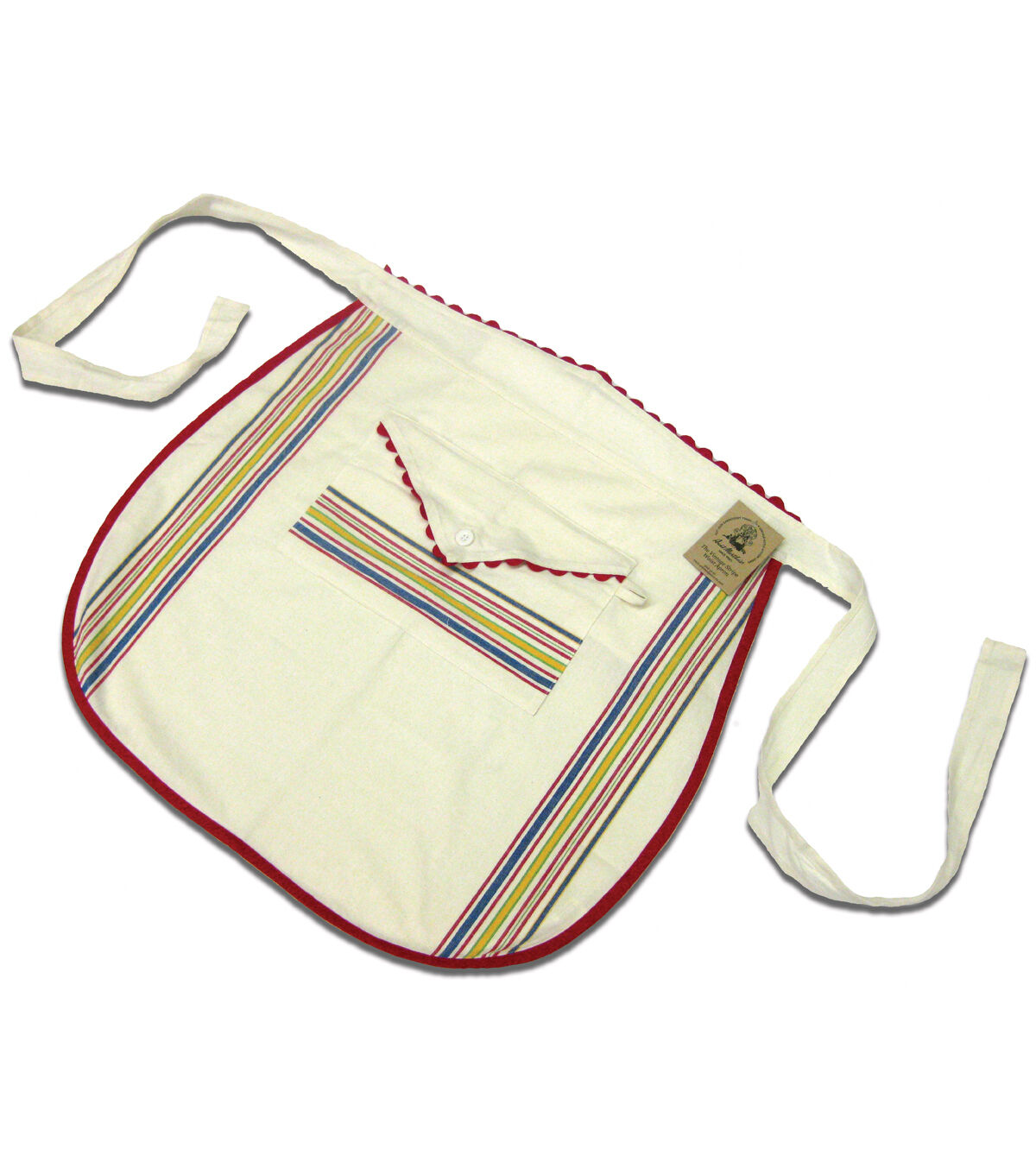 Vintage Aprons, Retro Aprons, Old Fashioned Aprons & Patterns Aunt Martha Vintage Stripe Waist Apron - Multi Stripe - Yarn  Needle Arts - Cross Stitch - Stamped Cross Stitch at JOANN $13.99 AT vintagedancer.com