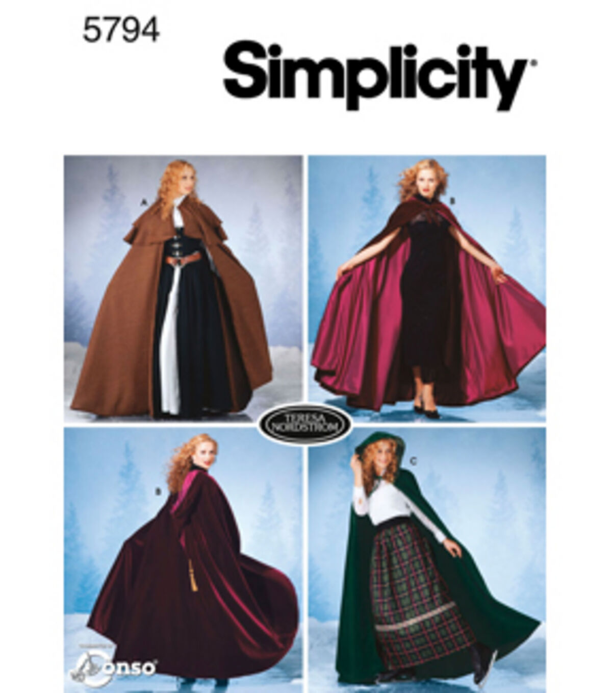 Victorian Sewing Patterns- Dress, Blouse, Hat, Coat, Men's Simplicity Pattern 5794A Misses Capes - Size XS S M L $15.95 AT vintagedancer.com
