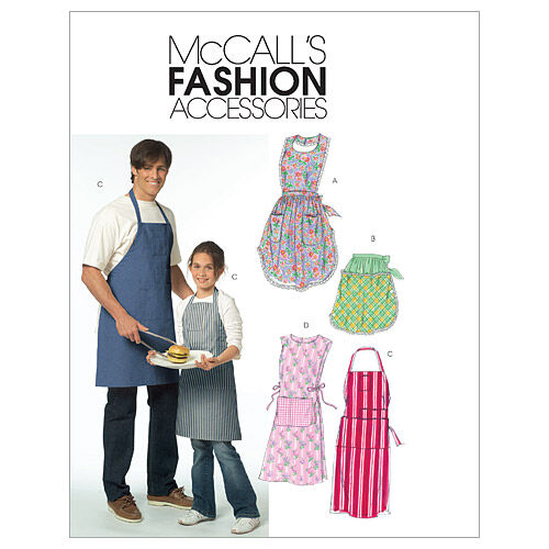 Vintage Aprons, Retro Aprons, Old Fashioned Aprons & Patterns McCalls Patterns M5551 Child  Adult Unisex Aprons $15.95 AT vintagedancer.com