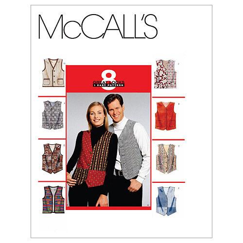 Men's Vintage Reproduction Sewing Patterns McCalls Pattern M6228 Adult Vests - Size S $11.16 AT vintagedancer.com