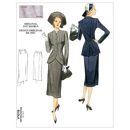 1940s Fabrics and Colors in Fashion 1947 Vogue Patterns Misses Suits - V1019 $27.50 AT vintagedancer.com
