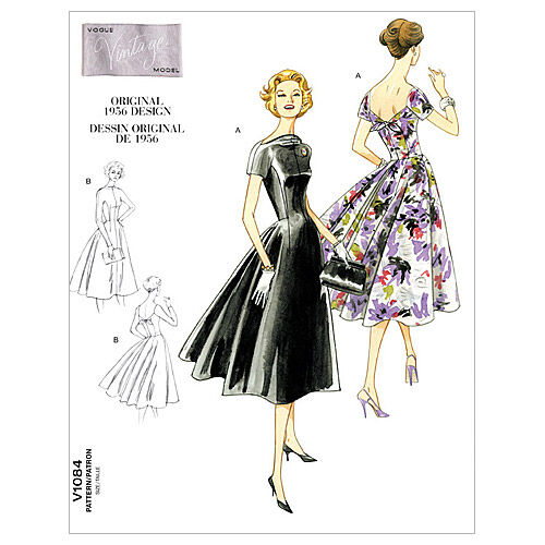 1950s Sewing Patterns | Swing and Wiggle Dresses, Skirts Vogue Patterns Misses Dress - V1084 $27.50 AT vintagedancer.com