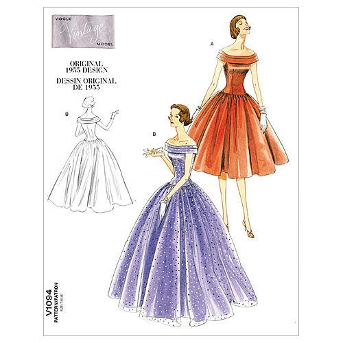 1950s Sewing Patterns | Swing and Wiggle Dresses, Skirts Vogue Patterns Misses Dress - V1094 $27.50 AT vintagedancer.com