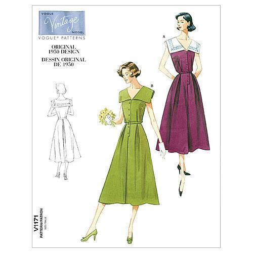 1950s Sewing Patterns | Dresses, Skirts, Tops, Mens 1950 Mccall Pattern V1171 Ff 16 - 18 - - Vogue Pattern $27.50 AT vintagedancer.com