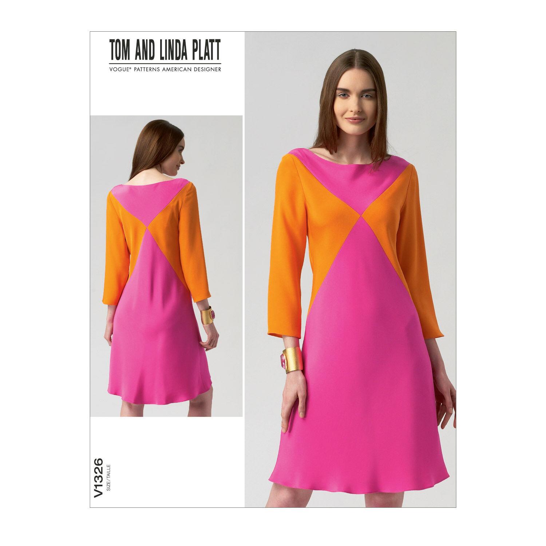 1960s – 70s Sewing Patterns- Dresses, Tops, Pants, Mens Vogue Patterns Misses Dress - V1326 $32.00 AT vintagedancer.com