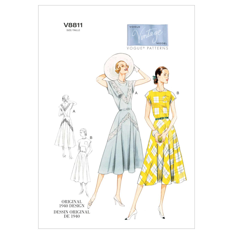 1940s Sewing Patterns – Dresses, Overalls, Lingerie etc 1940 Vogue Patterns Misses Dress - V8811 $30.00 AT vintagedancer.com