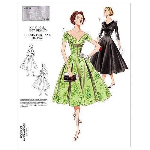 1950s Fabrics & Colors in Fashion 1957 Vogue Patterns Misses Dress - V2903 $25.00 AT vintagedancer.com