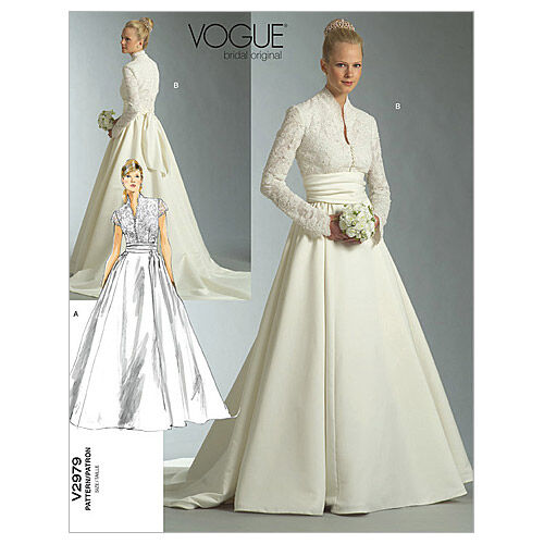 50s Wedding Dress, 1950s Style Wedding Dresses, Rockabilly Weddings Vogue Patterns Misses Bridal - V2979 $16.50 AT vintagedancer.com