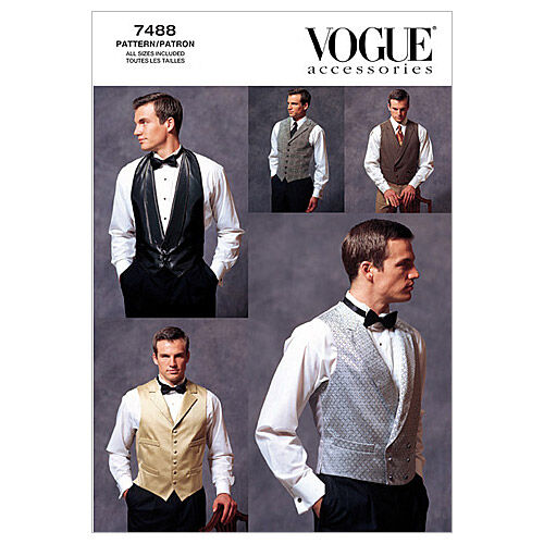Edwardian Men's Formal Wear Vogue Patterns Mens Vest - V7488 $16.95 AT vintagedancer.com
