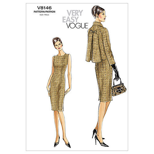 New Vintage Style Coats & Jackets – 30s, 40s, 50s, 60s Vogue Patterns Misses Jacket Dresses - V8146 $18.95 AT vintagedancer.com