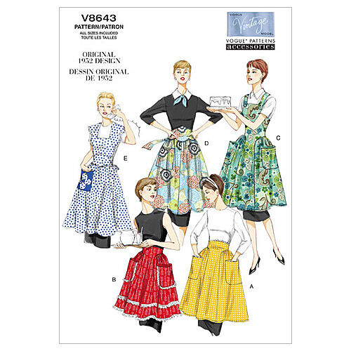 Vintage Aprons, Retro Aprons, Old Fashioned Aprons & Patterns Vogue Patterns Misses Aprons - V8643 $22.50 AT vintagedancer.com