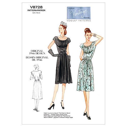 1940s Sewing Patterns – Dresses, Overalls, Lingerie etc 1946 Vogue Patterns Misses Dress - V8728 $27.50 AT vintagedancer.com