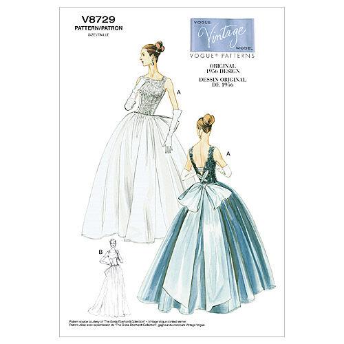 50s Wedding Dress, 1950s Style Wedding Dresses, Rockabilly Weddings 1956 Vogue Patterns Misses Dress - V8729 $16.50 AT vintagedancer.com
