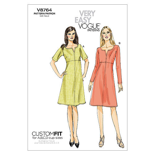 1960s – 70s Sewing Patterns- Dresses, Tops, Pants, Mens Vogue Patterns Misses Dress - V8764 $15.75 AT vintagedancer.com