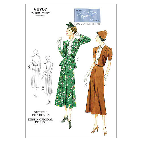 1930s Vintage Dresses, Clothing & Patterns Links 1938 Mccall Pattern V8767 Ee 14 - 16 - - Vogue Pattern $27.50 AT vintagedancer.com