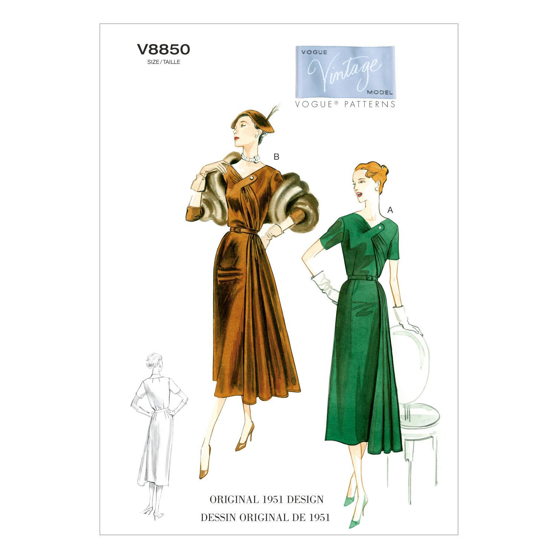 1950s Sewing Patterns | Dresses, Skirts, Tops, Mens 1951 Vogue Patterns Misses Dress - V8850 $19.25 AT vintagedancer.com