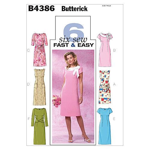 1960s – 70s Sewing Patterns- Dresses, Tops, Pants, Mens Butterick Misses Dress - B4386 $15.95 AT vintagedancer.com