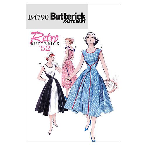 1950s Sewing Patterns | Swing and Wiggle Dresses, Skirts 1952 Butterick Misses Dress - B4790 $16.95 AT vintagedancer.com