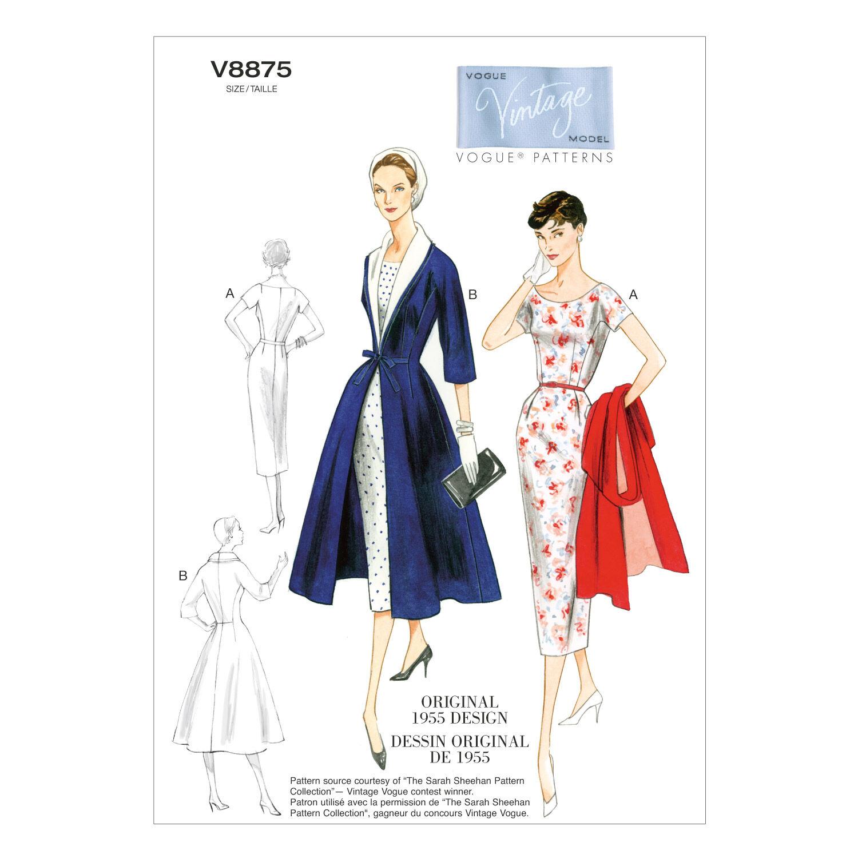 1950s Fabrics & Colors in Fashion Vogue Patterns Misses Dress - V8875 $30.00 AT vintagedancer.com