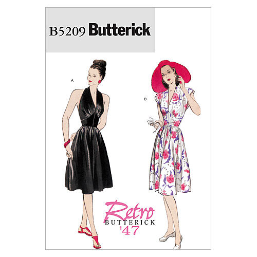 1940s Sewing Patterns – Dresses, Overalls, Lingerie etc Butterick Misses Dress - B5209 $16.95 AT vintagedancer.com
