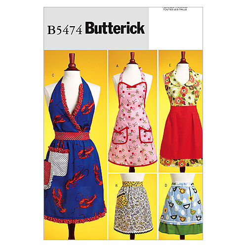 Vintage Aprons, Retro Aprons, Old Fashioned Aprons & Patterns Butterick Pattern B5474 Misses Aprons $17.95 AT vintagedancer.com