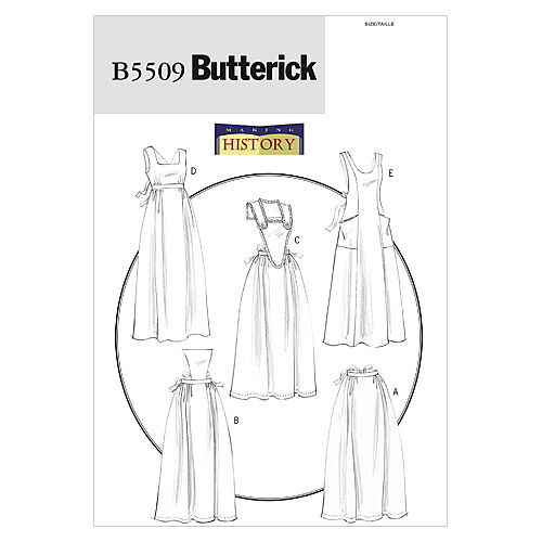 Vintage Aprons, Retro Aprons, Old Fashioned Aprons & Patterns Butterick Misses Historical Costumes - B5509 $18.95 AT vintagedancer.com