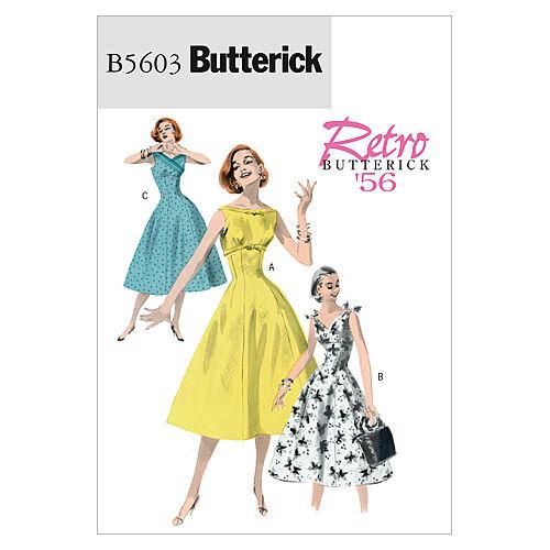 1950s Sewing Patterns | Swing and Wiggle Dresses, Skirts 1956 Butterick Misses Dress - B5603 $18.95 AT vintagedancer.com