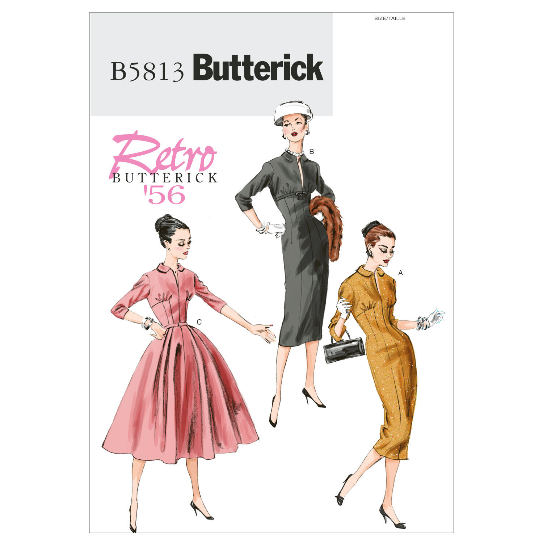 1950s Sewing Patterns | Swing and Wiggle Dresses, Skirts 1956 Butterick Misses Dress - B5813 $19.95 AT vintagedancer.com