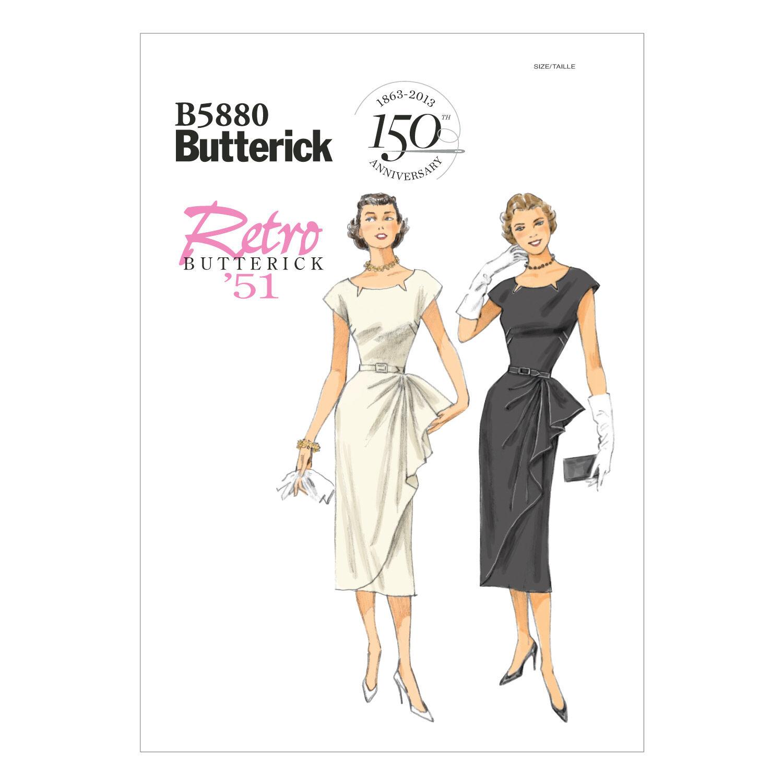 1950s Sewing Patterns | Swing and Wiggle Dresses, Skirts Butterick Misses Dress - B5880 $19.95 AT vintagedancer.com