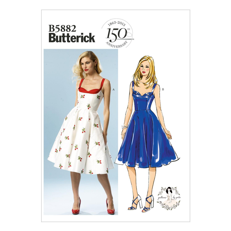 1950s Fabrics & Colors in Fashion Butterick Misses Dress - B5882 $19.95 AT vintagedancer.com