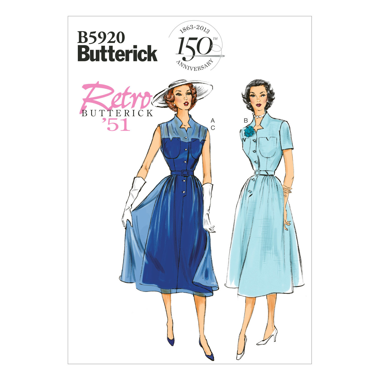 1950s Sewing Patterns | Dresses, Skirts, Tops, Mens 1951 Mccall Pattern B5920 14 - 16 - 18 - 2 - Butterick Pattern $19.95 AT vintagedancer.com