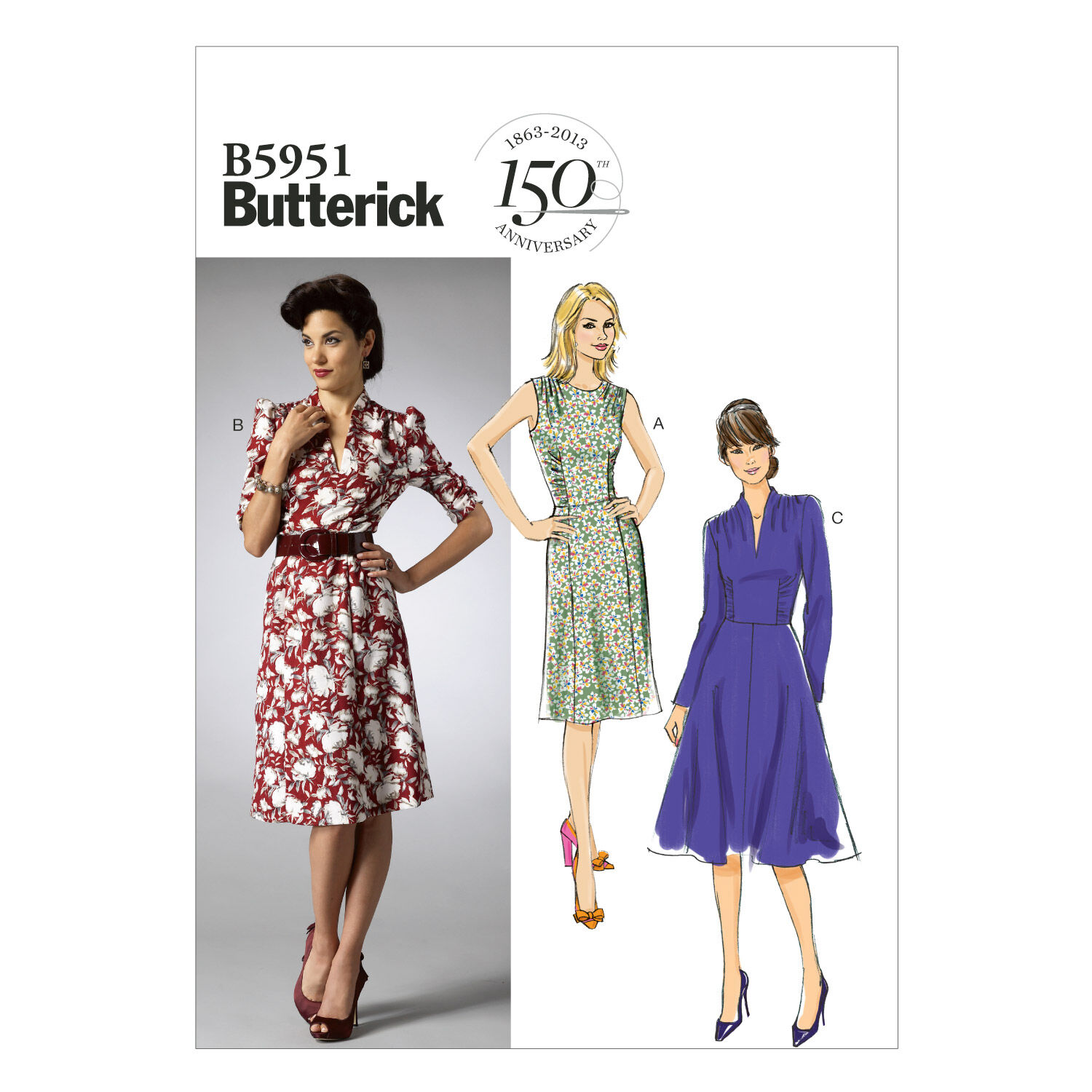 1940s Sewing Patterns – Dresses, Overalls, Lingerie etc Butterick Misses Dress - B5951 $18.95 AT vintagedancer.com