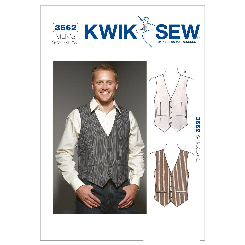 Men's Vintage Reproduction Sewing Patterns Kwik Sew Mens Vest - K3662 $15.99 AT vintagedancer.com