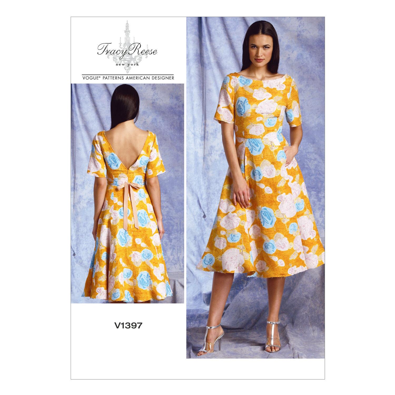 1960s – 70s Sewing Patterns- Dresses, Tops, Pants, Mens Vogue Patterns Misses Dress - V1397 $22.40 AT vintagedancer.com
