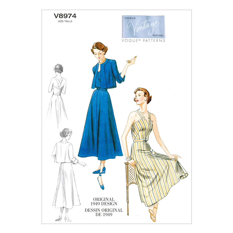 1940s Fabrics and Colors in Fashion 1949 Vogue Patterns Misses Dress - V8974 $30.00 AT vintagedancer.com