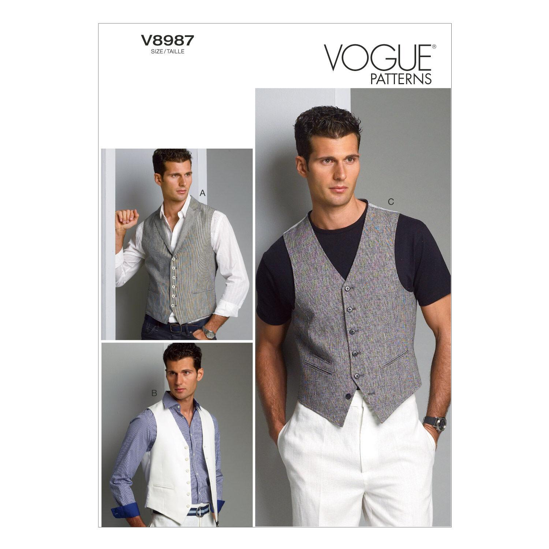 Men's Vintage Reproduction Sewing Patterns Vogue Patterns Mens Vest - V8987 $30.00 AT vintagedancer.com