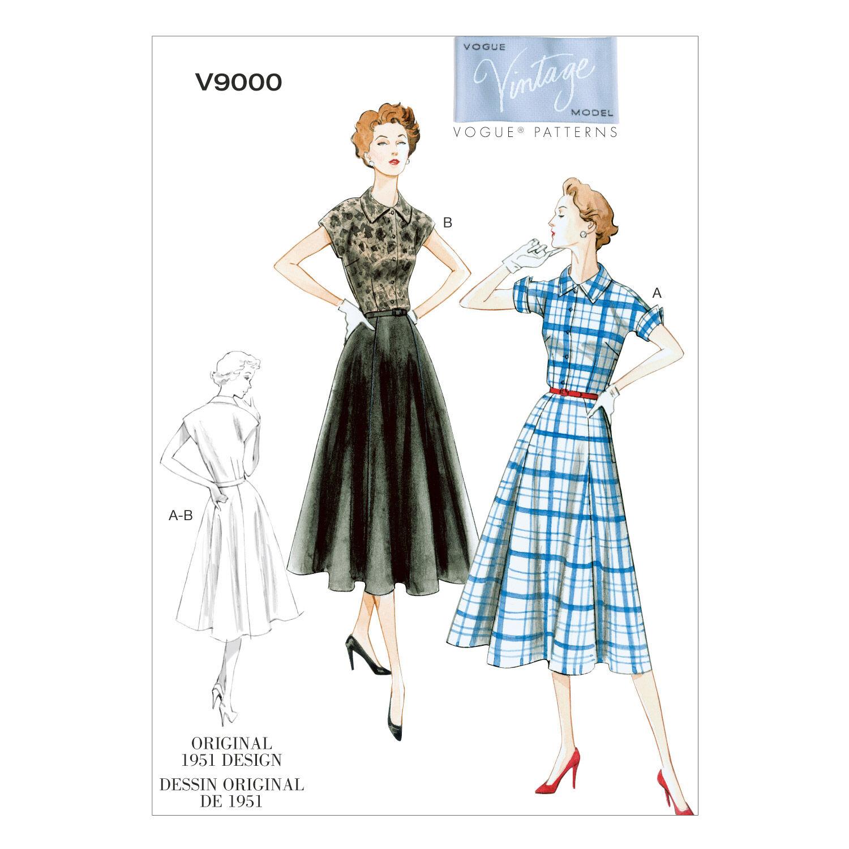 1950s Sewing Patterns | Dresses, Skirts, Tops, Mens 1951 Vogue Patterns Misses Dress - V9000 $30.00 AT vintagedancer.com