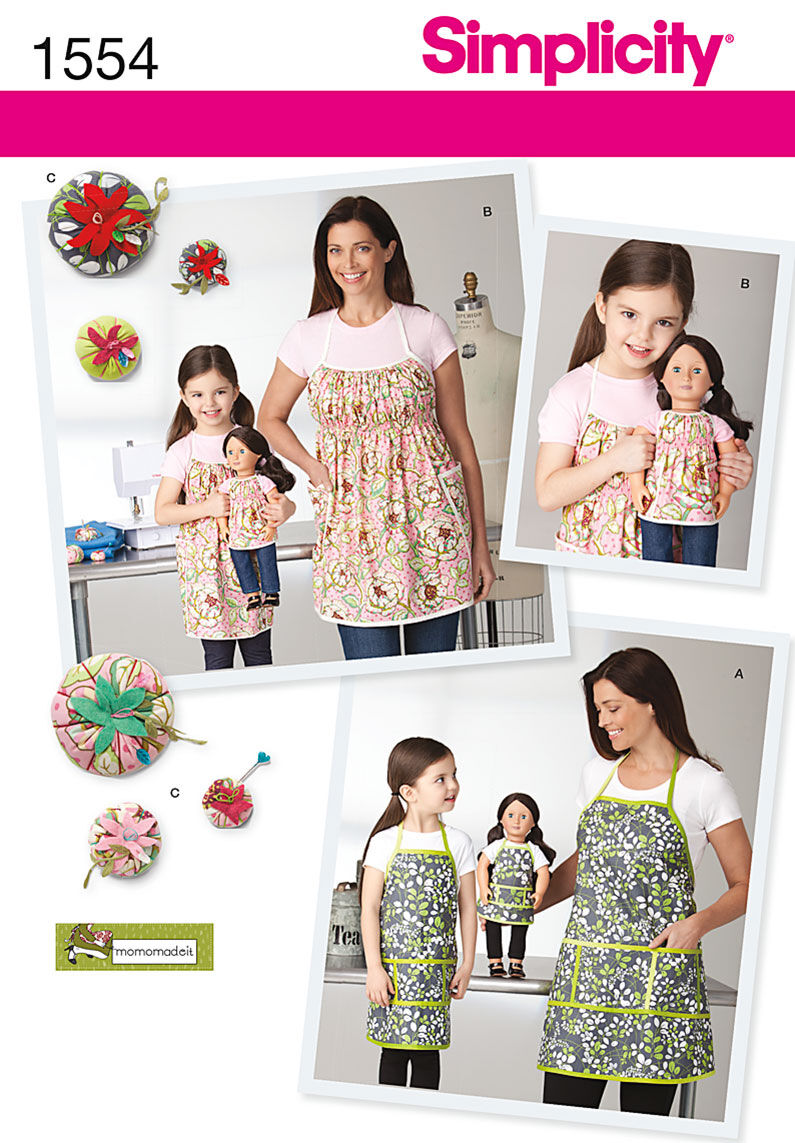 Vintage Aprons, Retro Aprons, Old Fashioned Aprons & Patterns Simplicity Pattern 1554A Misses  Girls Aprons - Size S - LS - L $17.95 AT vintagedancer.com