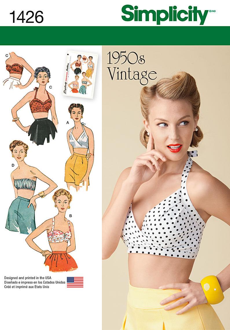 1950s Sewing Patterns | Swing and Wiggle Dresses, Skirts Simplicity Pattern 1426R5 14 - 16 - 18 - 2 - Misses Tops Vests $17.95 AT vintagedancer.com