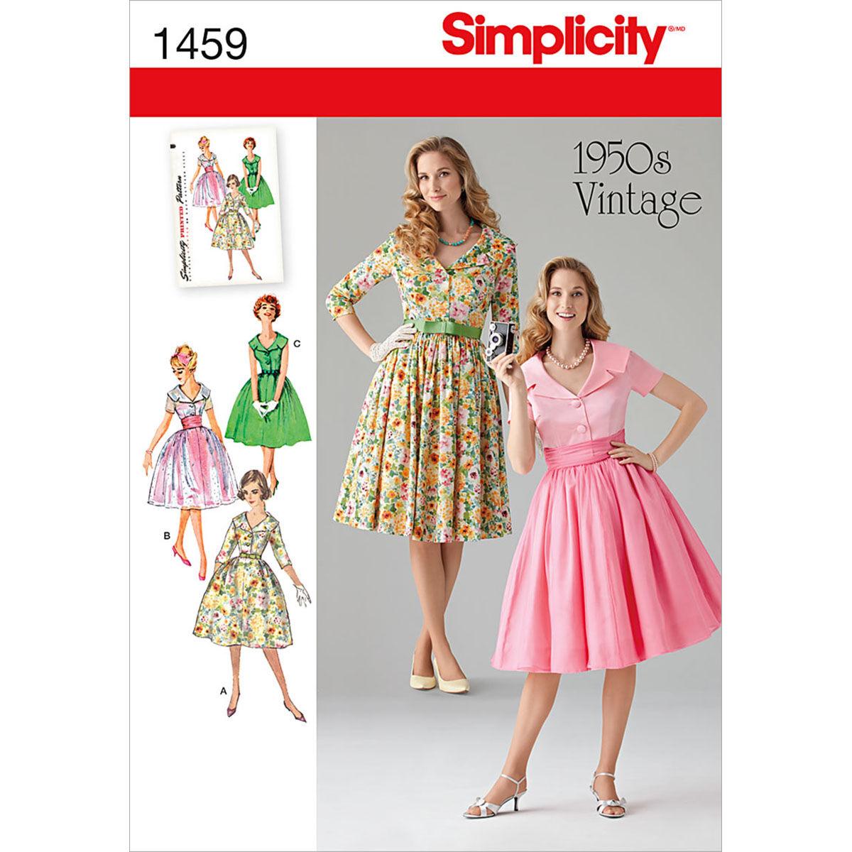 1950s Sewing Patterns | Dresses, Skirts, Tops, Mens Simplicity Pattern 1459K5 8 - 10 - 12 - 14 - Misses Dresses $13.26 AT vintagedancer.com