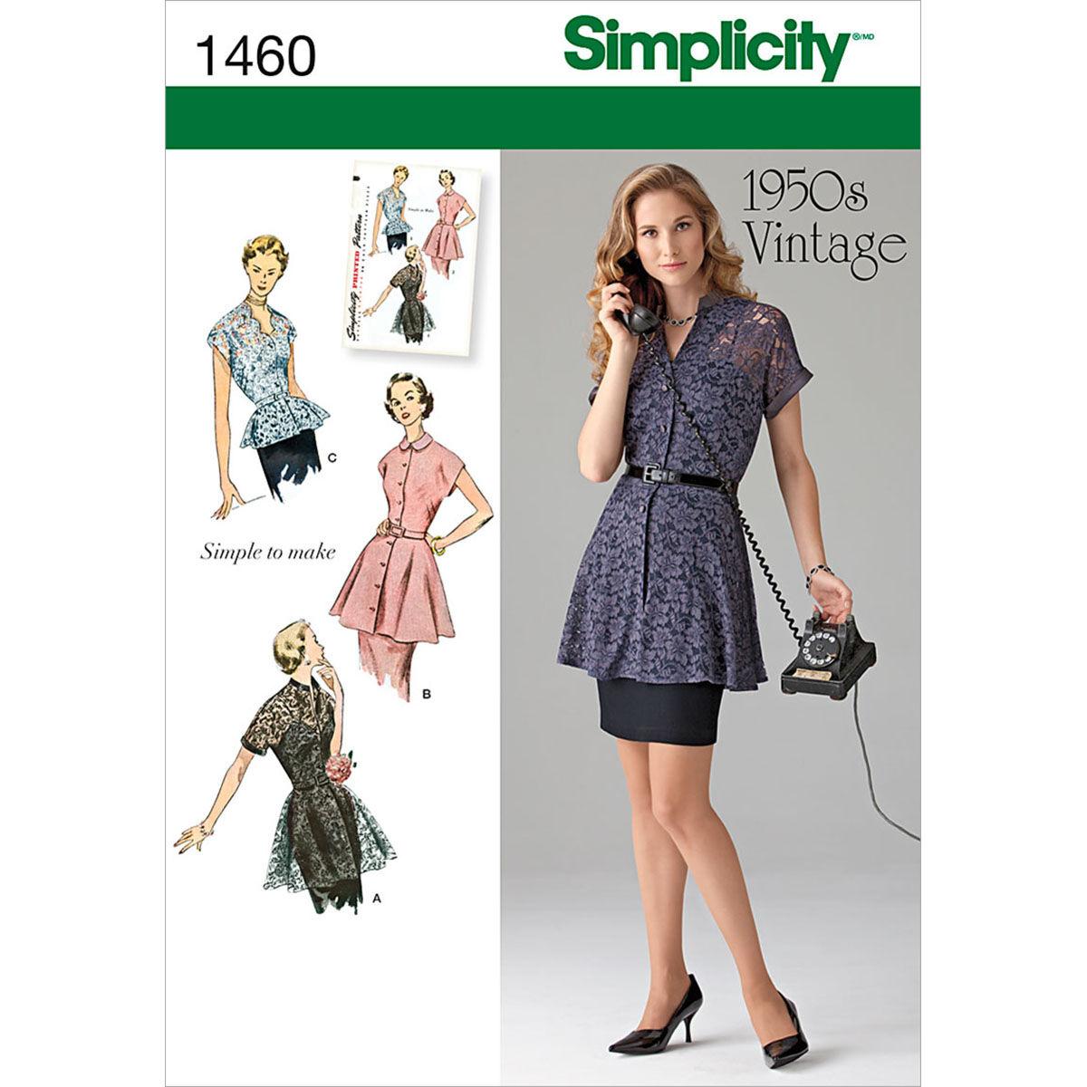 1950s Sewing Patterns | Dresses, Skirts, Tops, Mens Simplicity Pattern 1460H5 6 - 8 - 10 - 12 - - Misses Tops Vests $17.95 AT vintagedancer.com