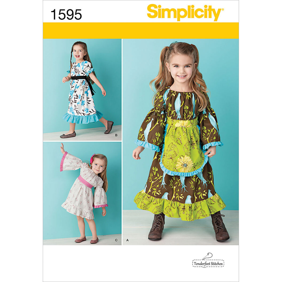 60s 70s Kids Costumes & Clothing Girls & Boys Simplicity Pattern 1595BB 4 - 5 - 6 - 7 - 8 - Toddlers Dresses $15.95 AT vintagedancer.com