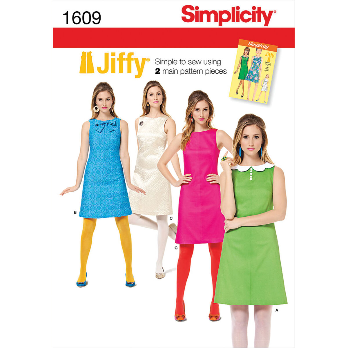 1960s – 70s Sewing Patterns- Dresses, Tops, Pants, Men's Simplicity Pattern 1609H5 6 - 8 - 10 - 12 - - Simplicity Misses Dr $17.95 AT vintagedancer.com